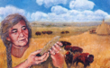 White Buffalo Calf Woman Illustration - Casein on Linen